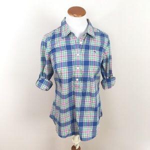 VINEYARD VINES Striped Plaid Pullover Blouse Sz 6